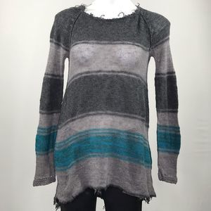 Free People raw hem and neck gray and blue sweater
